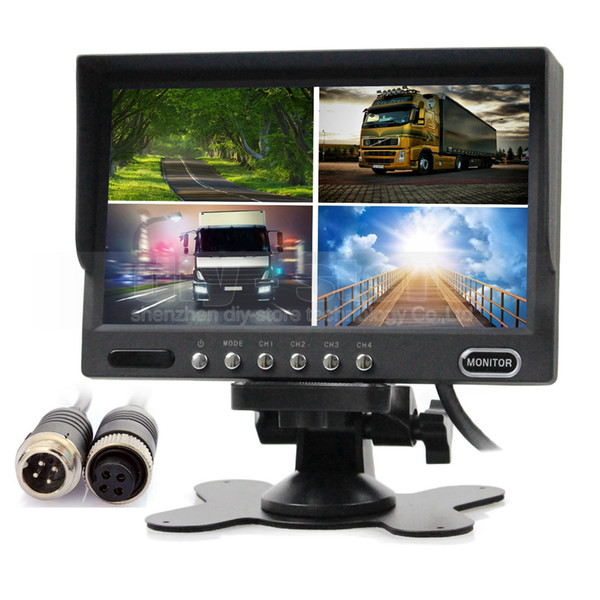 7inch Rear View Monitor Car Monitor 4 x 4-PIN Port 4 Split Quad LCD Screen Display for Monitor System