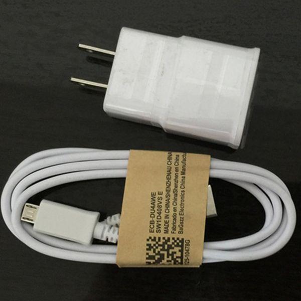 100% gerçek 5 V 2A ABD plug duvar şarj seyahat adpater + 1.5 m mikro USB şarj kablosu samsung galaxy s4 s5 s6 s7 not3 not 4 ücretsiz kargo