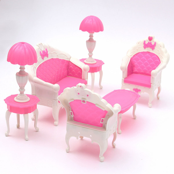 Wholesale- Miniatura Pink Dollhouse Furniture Living Room Parlour ...