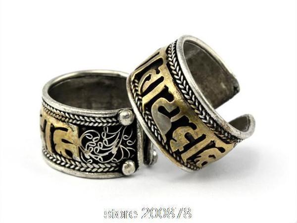 Großhandels-R158 tibetische Beschwörungsformel-Ringe für Mann sechs Wörter OM MANI PAD ICH HUM Goldener offener Ring