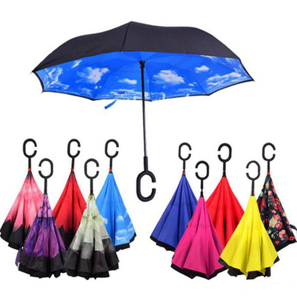 top popular Creative Inverted Umbrellas Double Layer With C Handle Inside Out Reverse Windproof Umbrella 34 Colors Free Shipping 2021