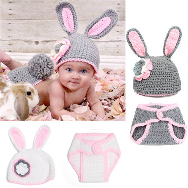 1pc Adorable White Easter Bunny Newborn Outfits Handmade Knit Crochet Baby Boy Girl Rabbit Animal Hat and Diaper Cover Set Infant Photo Prop