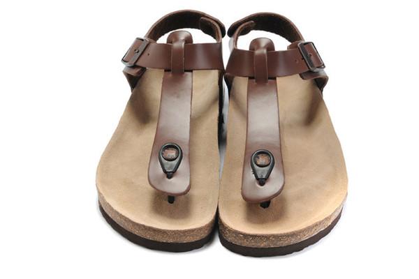 top popular New Famous Brand Arizona With Orignal Brand Logo Men's Woman Flat Sandals Casual Herringbone Sandals Summer Beach Genuine Leather Slippers 2019