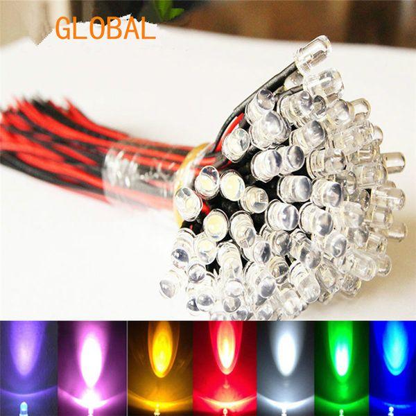 top popular 9V~12V LED 3mm Pre-Wired Prewired Ultra Bright Colours Light Lamp Bulb LED Set Light Lamp Bulb white 20cm Prewired 100pcs lot 2020
