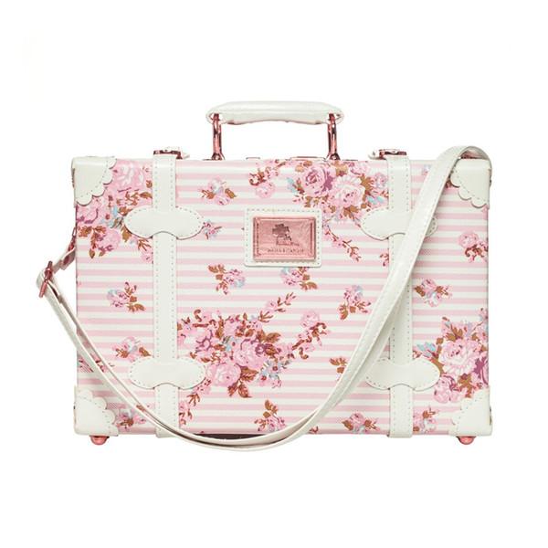 Carry -On 13 pouces Sacs de toilette étanches Vintage Trunk Box Travel Cosmetic Bag Petite valise Floral Boîte décorative avec des sangles pour les femmes