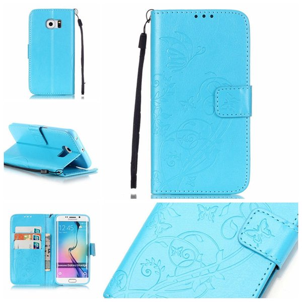 For Samsung Galaxy S6 Edge Wallet Case Luxury Vintage PU Leather Wallet Shockproof Case Flip Bracket Cover with retail package