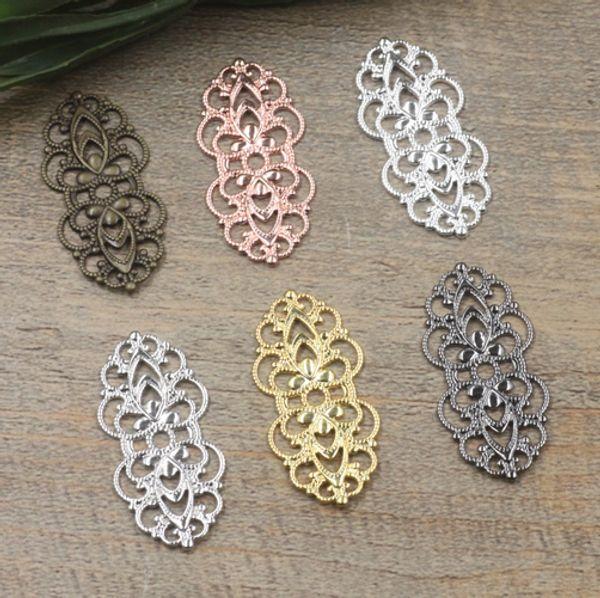 07591 15*33mm antique bronze/silver/rose gold/gun black filigree flower charms for jewelry making, bulk bracelet necklace connector pendants
