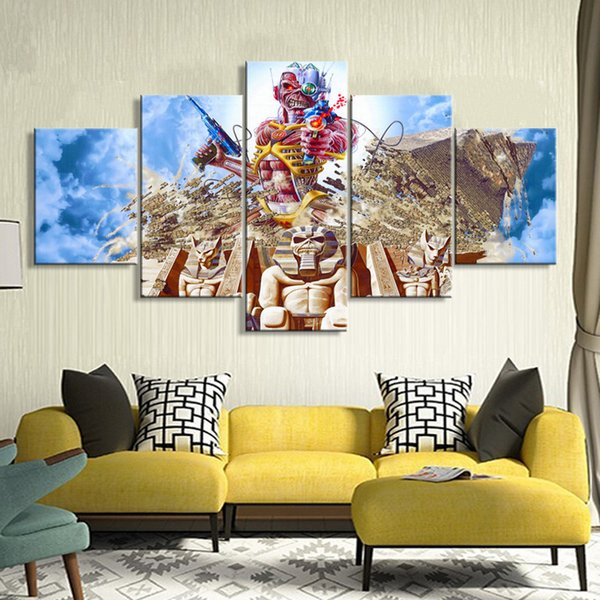 """Iron Maiden LARGE 60""""x32"""" 5 Panels Art Canvas Print Iron Maiden Band Poster Rock Music Wall home Decor interior (No Frame)"""