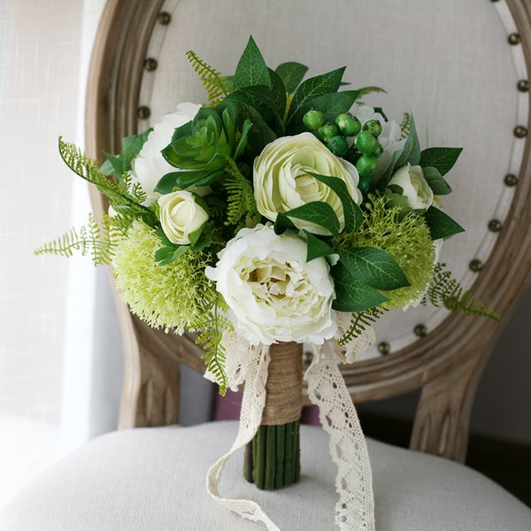 White green artificial bridal bouquet 2017 succulent berry peony white green artificial bridal bouquet 2017 succulent berry peony bridesmaids bouquet bride holding flowers for country mightylinksfo