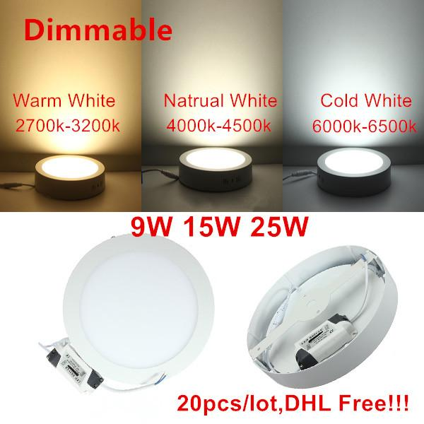 20pcs Dimmable 25W Round LED Surface Mounted Ceiling Panel Light warm white cool white For Home Bedroom kitchen illumination