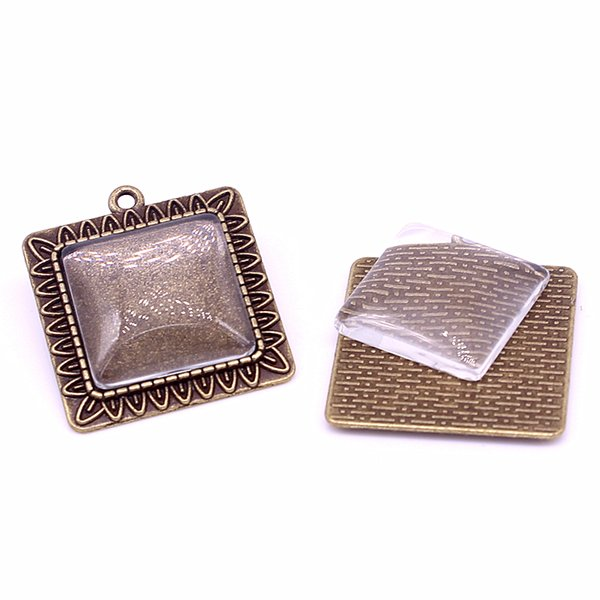 10set Antique Bronze Square 28*31mm(Fit 20*20mm dia) Pendant Blanks Fit Jewelry Making Charms + Clear Glass Cabochons A4702-1
