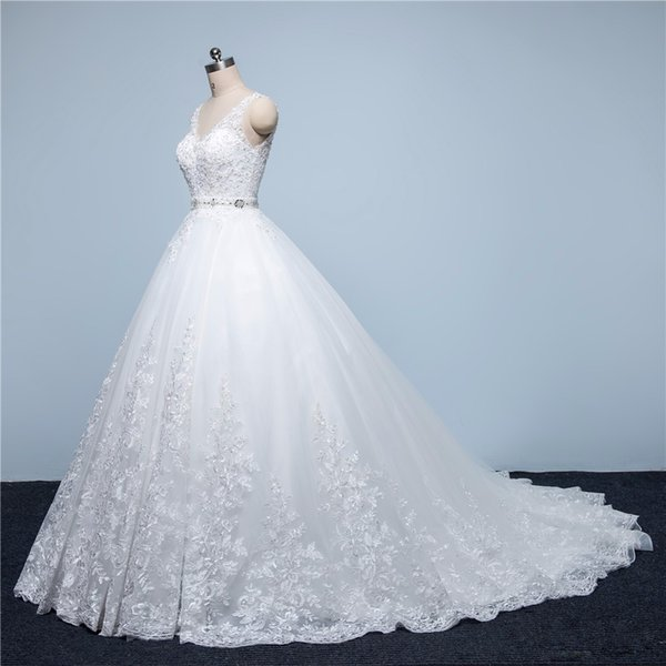 Real Picture Vintage Lace Wedding Dresses 2017 A-Line V-Neck Beaded Sash Backless Sexy Modest Bridal Gowns China Online Shop Cheap