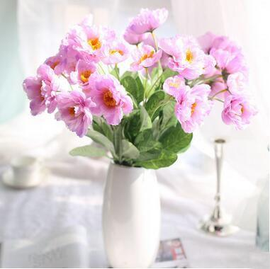 Rosemary poppy flower 8 colors 2 heads silk flowers artificial decorative flowers for home wedding market decoration 10A