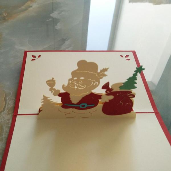 (10 adet / grup) Lazer Kesim Parti Davetiyeleri 3D Noel Kartı Kübik Noel Baba Şerefe Noel Tebrik Kartları Ücretsiz Kargo