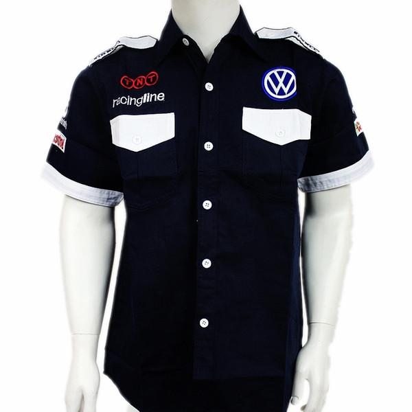 cherishluo / Original verão homens de algodão de manga curta f1 terno macacão de carro roupas motocross F1 camisa motortycle blusa para Volkswagen