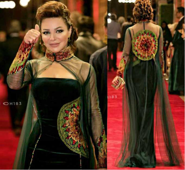 top popular 2017 Dark Green Celebrity Dresses Sheath Straspless Velvet Beaded Embroidery Evening Gowns with High Neck Tulle Beaded Illusion Long Cape 2019