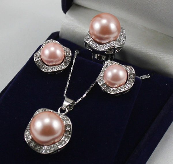 Set 10mm &14mm Pink South Sea Shell Pearl Earring Necklace Ring size 7 8 9 AAA
