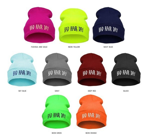21 Colors BAD HAIR DAY Neon Knitted Hats For Women Casual Gorro Fashion Elastic Beanie