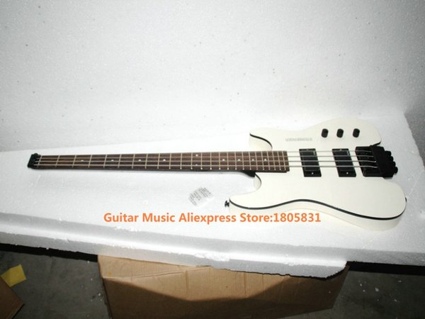 top popular Wholesale-White 4 Strings NO Head Electric Bass Headless Bass Guitars OEM Free Shipping 2020