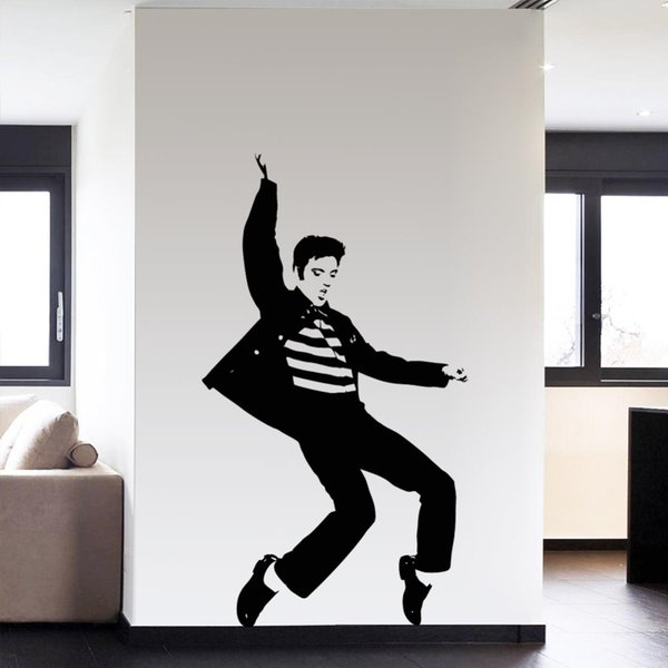 Fashion Dance Elvis Presley Pattern Bedroom Wall Sticker Wall Art Decals Home Decor Rock and Roll Music Posters Diamond Level