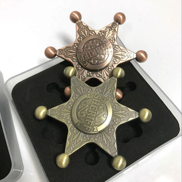 best selling 2017 New Badge Spinner Captain Metal Retro Decompression Toys Rotation Sheriff Fidget Bronze Relax Stuff for Children Kids