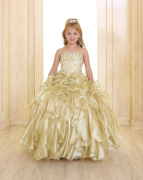 2019 Sparkling Girls Pageant Dresses Gold Princess Spaghetti Strap Crystal Beads Ruffles Organza Ball Gown Flower Girls Dresses With Vest