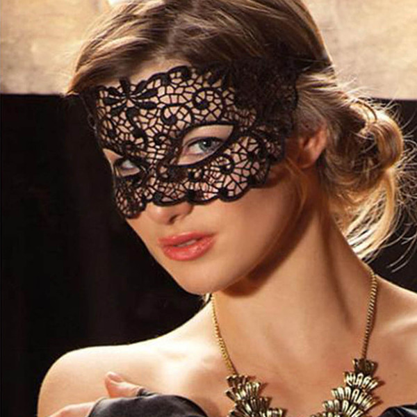 New Fashion Black Cutout Mask Lace Face Mask Veil Sexy Prom Party Halloween Masquerade Dance Mask Party Masks 30*10cm 00802