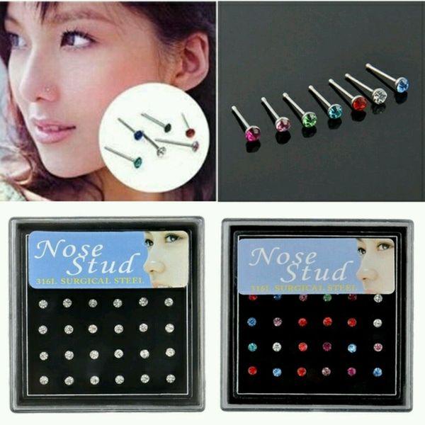 top popular 2mm simple mini diamond earring quality hot rhinestones nose ring piercing jewelry wholesale 24PCS box price 2021