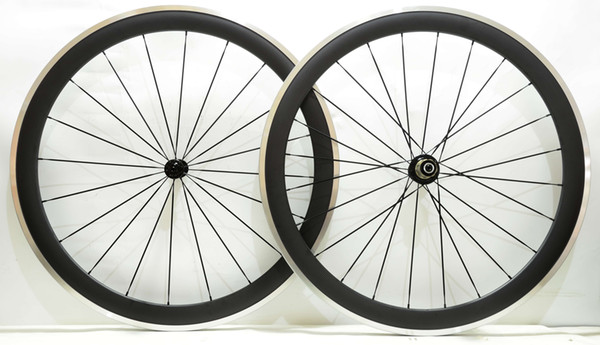 Free shipping Alloy Brake Surface carbon wheels 50mm depth 23mm width road bike carbon wheelset with Powerway R13 hub