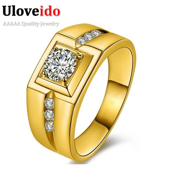 Uloveido Banhado A Ouro de Prata CZ Anéis de Casamento de Diamantes Masculinos para Homens Jóias Anéis De Cristal Aneis Anillos J473 Venda Presentes de Ano Novo