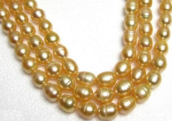 NOBLEST 35 INCH 11-13MM NATURAL SOUTH SEA GOLD PEARL NECKLACE 14K GOLD CLASP