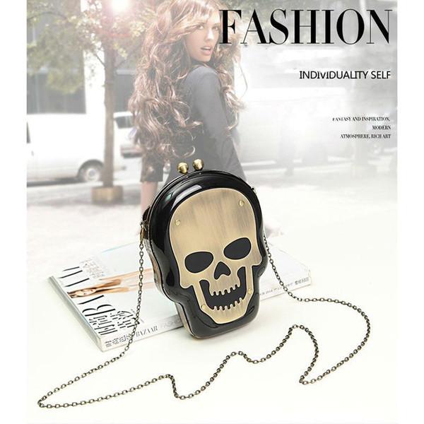 Free Shipping Women Lady Punk Skull Acrylic Clutch Messenger Bag Evening Shoulder Purse Perfume Bag Monster Knuckle - A009