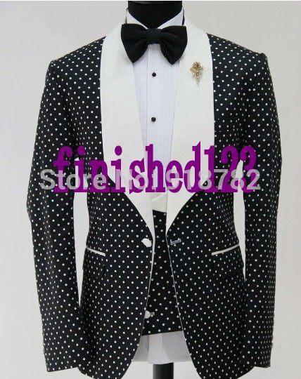 Wholesale- späteste Coat Pant Designs 2017 nach Maß modische Punkt-Muster-Männer Partei Tuxedo dünne Sitz-Klage-Bräutigam-Hochzeitsanzüge für Männer