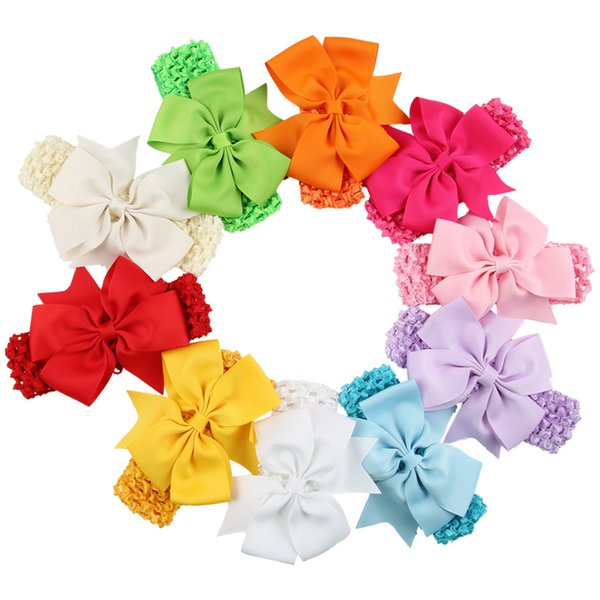 Mix Color Baby Infant Girls Hair Accessories Satin Stretchy Hair Band Kids Crochet Headband Babies Toddler Candy Color Headwear