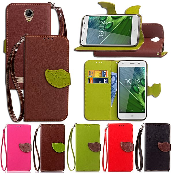 For ACER Z6 Cases PU Leather Cover Phone Kickstand with Wallet Card Pocket Leaf Magnet Flip Buckle Hand Strap