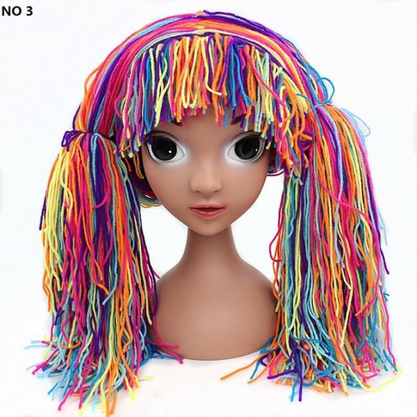 2017 Children Handmade Woolen Christmas Headband Wig Braids Wig Hat Halloween Baby Carnival Headdress Kid Party Hair Accessories