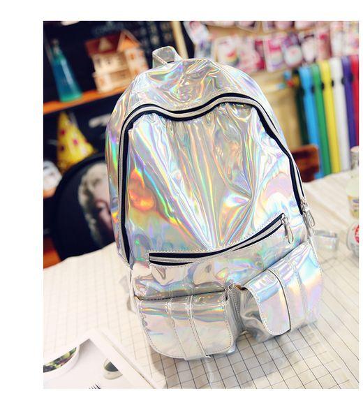 3d9a297e1 50Pcs 2017 New Hologram Laser Backpack Girl School Bag Shoulder Women  Rainbow Colorful Metallic Silver Laser