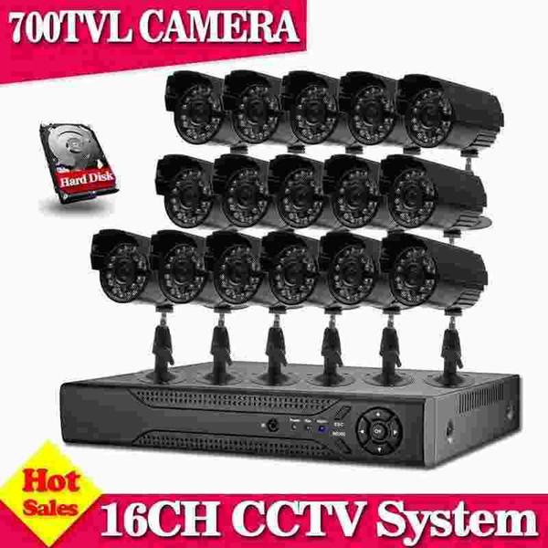 16 Kanal 700TVL videoüberwachungssicherheits-Kamerasystem h.264 DVR Recorder 16ch CCTV dvr Installationssatz für Hauptüberwachungssystem
