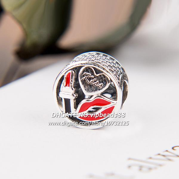 New 2017 Fall Red lips enamel CZ Charm beads 925 Sterling Silver For Pandora charm Bracelets Beads & Jewelry Making
