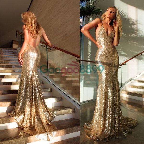 Bling Bling Altın Sequins Seksi Spagetti Mermaid Akşam Parti Kokteyl Elbiseleri 2019 Backless Tam boy Ucuz kadın Durum Balo Elbisesi