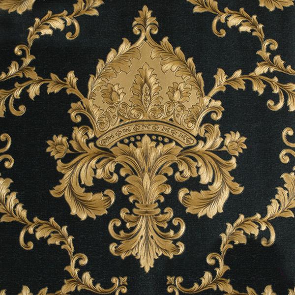 Luxus Europäischen Stil Schwarz Gold 3D PVC Geprägte Damast Tapete Für  Wände Roll Wohnzimmer Dekor Wasserdicht
