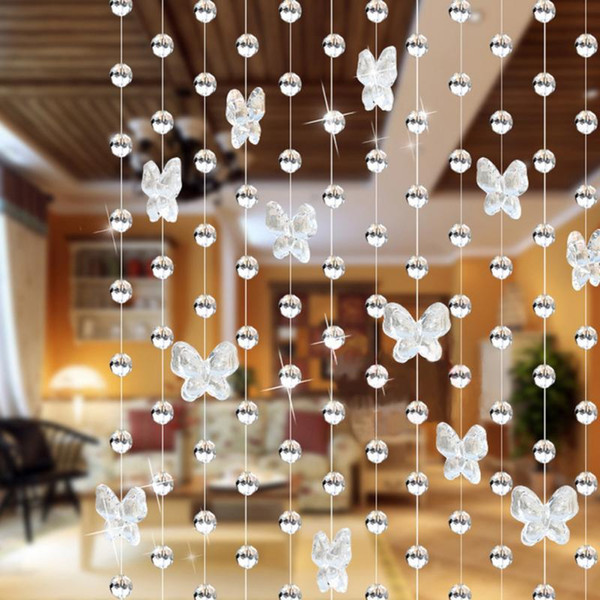 Atacado-100cm Borboleta Waterdrop Cortina de talão de cristal Interior de decoração para casa renovação Moda natal decoração de casamento cortinas
