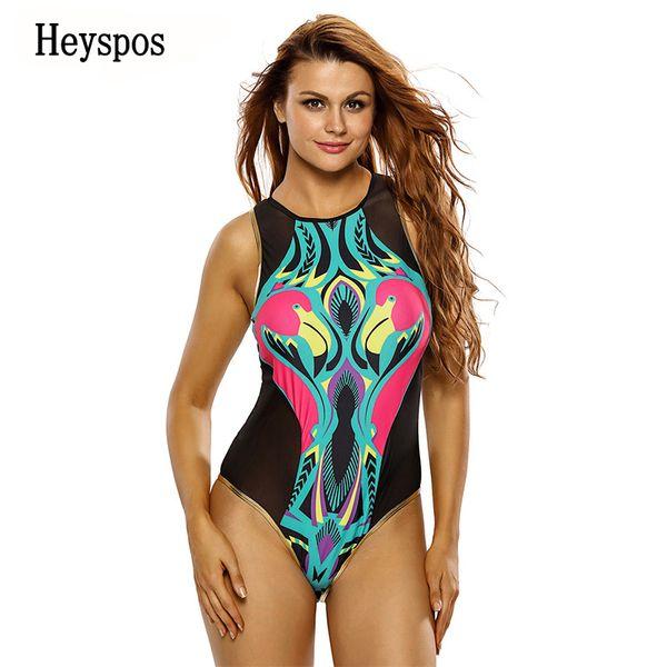 9e198f8f64983 2019 New Stylish Plus Size One Piece Swimsuit Cartoon Flamingo Print Zipped  Mesh Monokini Soft Bathing Suit Swimwear 410086 Summer From Infine2, ...