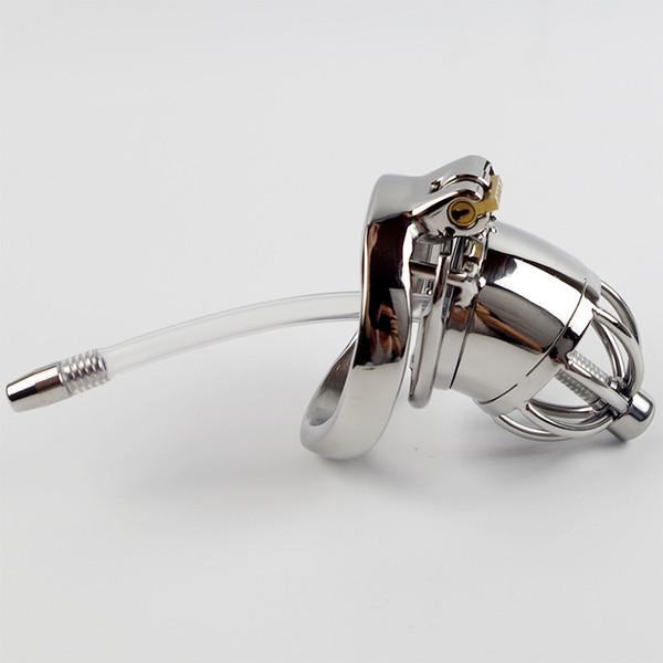 Dispositivo di castità maschio dell'acciaio inossidabile con i suoni uretrali del silicone Catetere Spike Ring BDSM Giocattoli del sesso per gli uomini Sex Slave Pene Lock Cage CP277