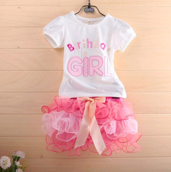 Summer Cute Baby Clothes Sets Pink Birthday Girl Mixed Color Lace Cake T Shirt Skirt 2pcs Set Kids Suit