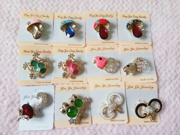 mix 60 styles colours corsages Pearl diamond brooches insects animals flowers plane brooches high-grade zircon brooches pins many styles