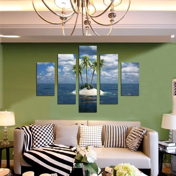 (No Framed))5 Piece Coconut Trees Island Canvas Painting Home