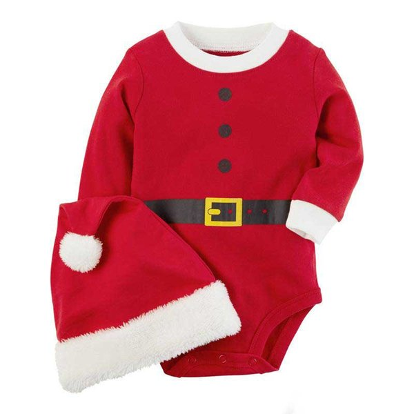 Baby Christmas romper 2pc sets red pompon santa hat+red romper infants cute Xmas festivals romper outfits for 1-2T