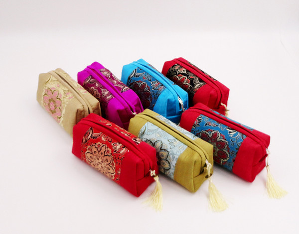 Patchwork Long Zipper Pouch Travel Jewelry Makeup Storage Bag Tassel Craft Gift Packaging Chinese style Silk Cotton Cosmetic Purse 50pcs/lot
