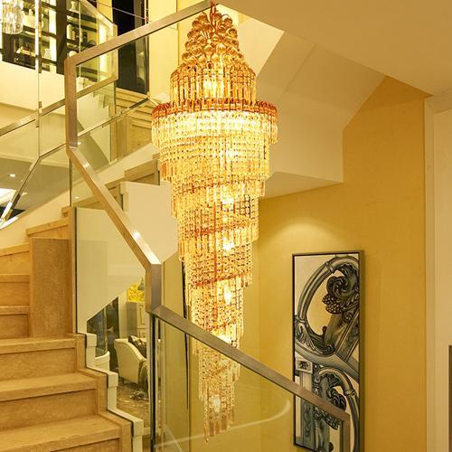 Хрустальные люстры светодиодные люстры светильники роскошные современные виллы отель лестницы двойной дуплекс лестницы хрустальные светильники люстры